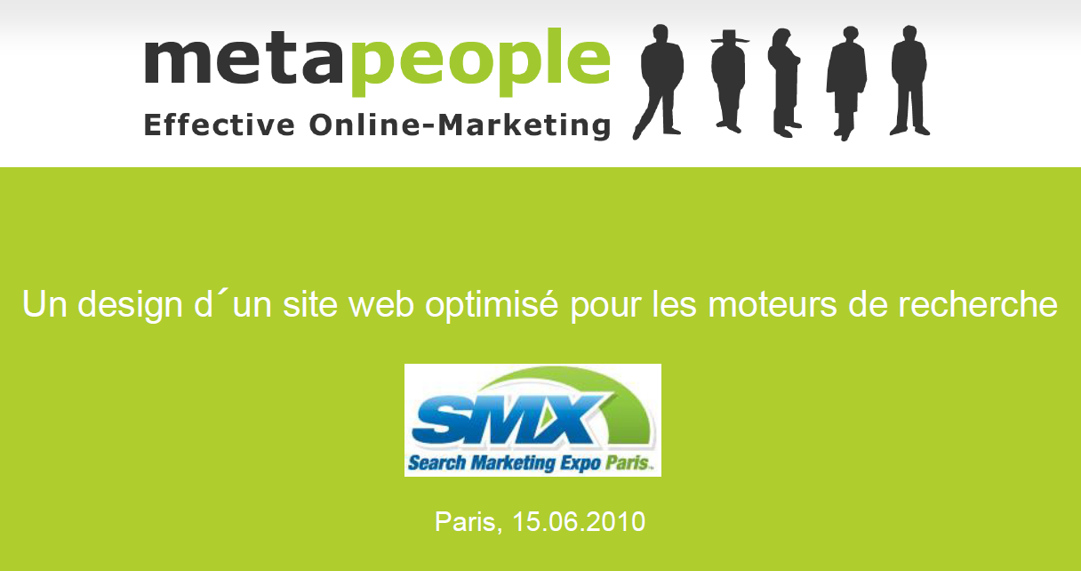 "Roger Balmer präsentiert zum Thema ""Design d'un site web optimizé pour les moteurs de recherche"" 2010 an der SMX in Paris auf französisch"