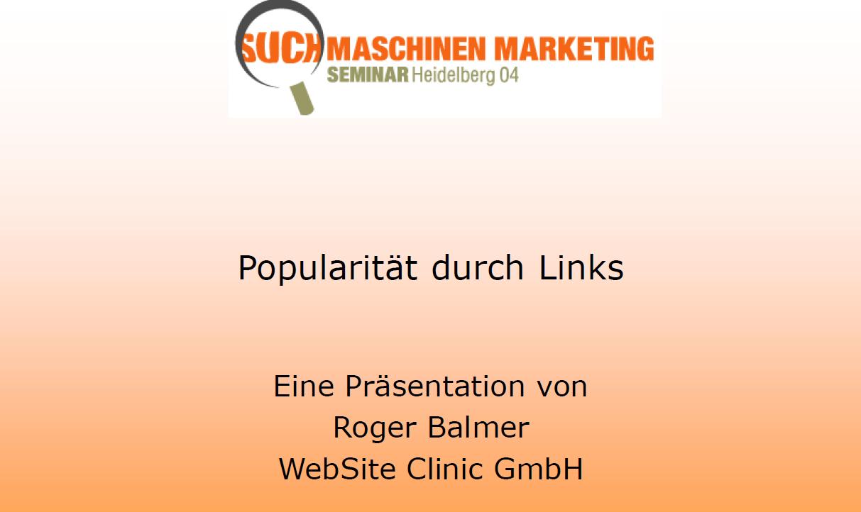 """Roger Balmer hält eine Präsentation zum Thema """"Popularität durch Links"""" am Suchmaschinenmarketing.Com Kongress in Heidelberg"""