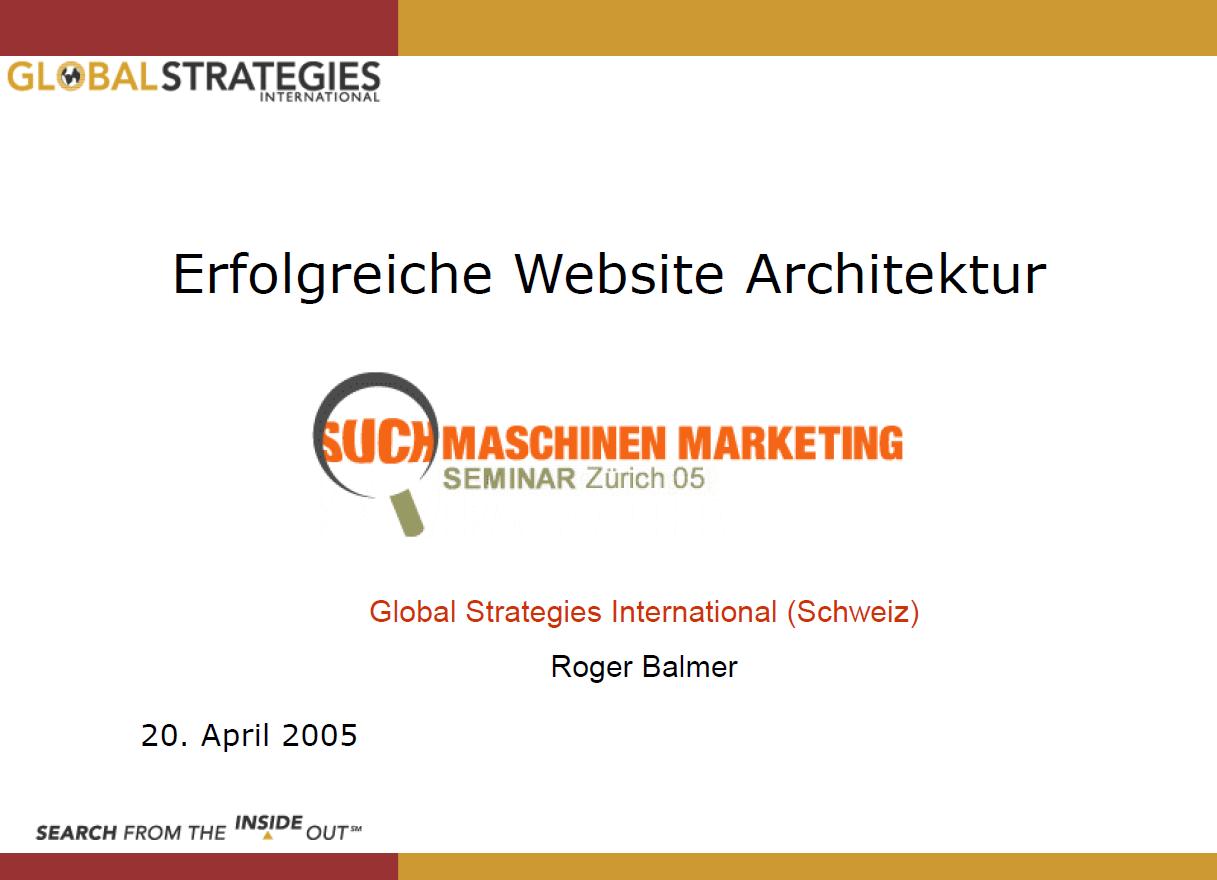 """Roger Balmer präsentiert zum Thema """"Erfolgreiche Webseiten Architektur"""" am Suchmaschinenmarketing.Com Kongress 2005 in Bern auf dem Gurten"""