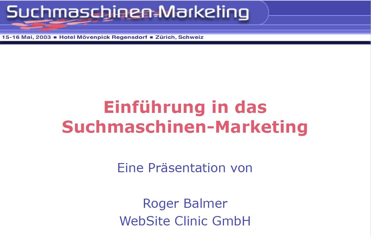 """Roger Balmer hält eine Präsentation zum Thema """"Einführung in das Suchmaschinen"""" am Suchmaschinenmarketing.Com Kongress in Zürich"""