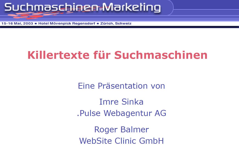 """Roger Balmer hält eine Präsentation zum Thema """"Killertexte für Suchmaschinen"""" am Suchmaschinenmarketing.Com Kongress in Zürich 2003"""